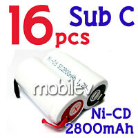 16 pcs SubC Sub C NiCD 1.2V Ni-Cd 2800mAh Rechargeable Battery with Tab White