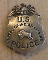 US POLICE BUREAU OF INDIAN AFFAIRS  BADGE BW - 23   WESTERN SHERIFF MARSHAL