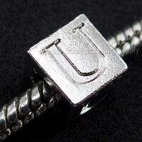 10x 150797 Wholesale New Letter U Charms Beads Fit European Bracelets
