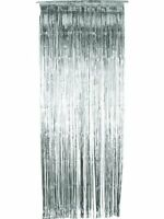 Party Decoration Door Tinsel Shimmer Curtain Silver 91 x 244cm New by Smiffys