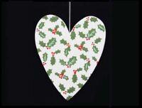 GISELA GRAHAM WHITE WOODEN GLITTER HOLLY LOVE HEART CHRISTMAS HOME DECORATION