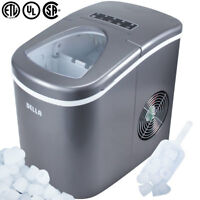 Portable Electric Ice Maker High Capacity 26 Pounds Per Day 2 Cube Sizes, Silver