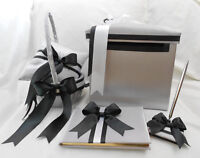 Silver Black White Flower Girl Basket Ring Pillow Guest Book Pen Gift Card Box