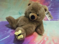 MWT Adorable Vintage First & Main JASPER Plush Brown Teddy Bear Yellow Butterly