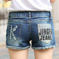 UK Sexy Womens Blue Denim High Waisted Shorts Jeans Hotpants Frayed Hole Washed