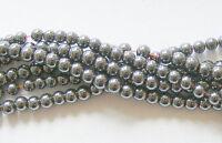 """1 Strand Hematite Round Beads  Non Magnetic - 4mm - 16"""" Strand"""