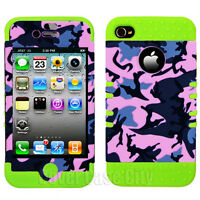 Pink Gray Camo Green Skin Hybrid Hard Cover Case for Apple iPhone 4 4S Accessory