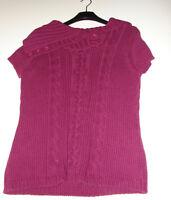 Pullover Sommerpullover mit Kragen Knopfleiste lila Gr. L NEU  60 % Baumwolle