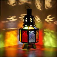 Orientalische Laterne Marokko Lampe Hängeleuchte Orient Glaslatern Samara_Multi