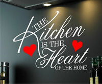 WALL ART STICKER QUOTE KITCHEN HEART HOME DINING ROOM MURAL VINYL WALLPAPER