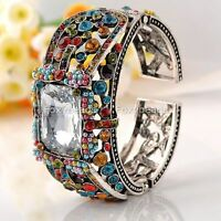 White Faceted Rectangle Crystal Colorful Vintage Bracelet Cuff Bangle