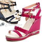 Tiras Sandalias Tacón de cuña Zapatos mujer Zapatos De Tacón Alto Charol_Óptica