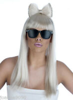 Long Straight Blonde White Bow Pop Diva Fancy Dress Wig With Glasses Lady Gaga