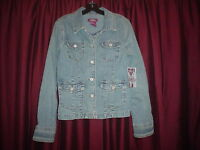 LADIE'S/JUNIORS (VANITY JEANS) STRETCH BLUE DENIM JEAN JACKET/COAT SZ. LARGE NEW