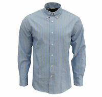 Rockport Men's Frost Striped Long Sleeve Shirt Light Blue