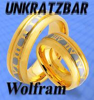 2 WOLFRAM TRAURINGE RINGE mit GOLD Platierung & GRAVUR GRATIS , unkratzbar , JW9