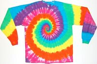 Adult Long Sleeve TIE DYE Neon Rainbow art T Shirt plus sizes 2X 3X 4X hippie