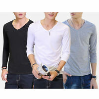 Men's Fashion Slim V-Neck Fit Cotton Long/Short Sleeve Casual Shirts Blouse Tops