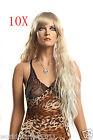 10X Fashion Inclined Fringe Kanekalon Yellow Long Curly Small Wave Women Wigs