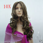 10X Fashion Centre Parting Kanekalon Flaxen Color Long Curly Big Wave Women Wig
