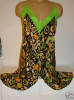 Kimchi & Blue Urban Outfitters 100% silk tunic top green black floral nighty-M/L