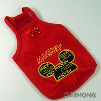 Dog&Cat Clothes MICKEY Embroidered Tank Shirts_A712 Red,sz S