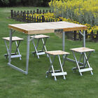 Portable Folding Picnic Table 4 Seats Chairs Camping Park Outdoor Wood Aluminum