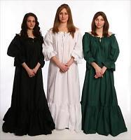 RENAISSANCE COSTUME DRESS MEDIEVAL GOWN WENCH CIVIL WAR PIRATE BLACK CHEMISE Cd1