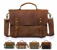 "Canvas Leather Briefcase CrossBody 14"" Laptop Shoulder Messenger Bag Satchel New"