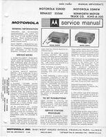 1966 MOTOROLA RENAULT 5SMXD AUTO RADIO SERVICE MANUAL PHOTOFACT