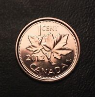 (1) 2012 CANADIAN PENNY CENT BU FROM RCM MINT NON MAGNETIC LAST YEAR #BN283