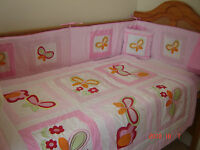 NEW pink baby girl's cotbed/cot bumper (nursery bedding) with butterflies floral