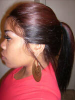 "INSTOCK 16"" Cherry Duo Silky Straight Indian Remy Human Hair Full Lace Wig"