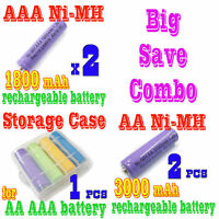 4pcs AA +AAA NiMH Rechargeable Battery +Storage Case
