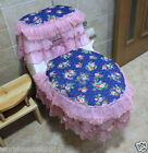 Lovely Style Practical S 45*36 CM Fabric Blue Three-Piece Toilet Cover