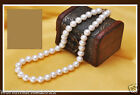 10-11MM 460MM White 925 Silver Perfect Circle Natural Freshwater Pearl Necklace!