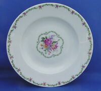 Large Rimmed Soup Bowl Giraud Limoges France TULIPE Flowers Green Pink CLOSEOUT