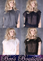 New Ladies Sexy Sheer Blouse Top Size 10 12 On/ Off Shoulder White