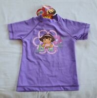 Dora The Explorer Girls Flower Purple Rash Vest Size 2 New