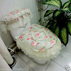 Lovely Practical Green S 45*44 CM Cotton Rose Pattern Three-Piece Toilet Cover