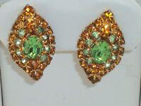 Vintage Designer Quality Orange & Green Rhinestone Clip On Earrings