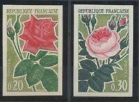 1962 France N°1356 + 1357 Roses Non Dentelés Neufs luxe** COTE 140€ D1533