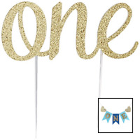 1st Birthday Boy Decorations Kit | Blue and Gold Party Supplies Include Balloons