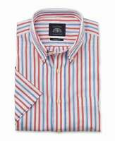 Savile Row Men's White Red Blue Stripe Pinpoint Classic Fit Short Sleeve Shirt