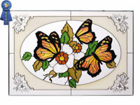 20x14 MONARCH BUTTERFLY Flowers Stained Art Glass Suncatcher Panel