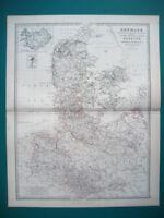 DENMARK GERMANY HANOVER ANTIQUE MAP BY JOHNSTON 1873