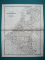 BELGIUM & THE NETHERLANDS ANTIQUE MAP BY JOHNSTON 1873