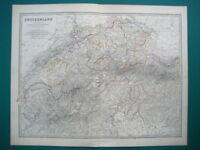 SWITZERLAND SAVOY PIEDMONT ANTIQUE MAP BY JOHNSTON 1873