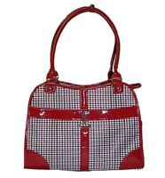 Dog Cat Classic Red Houndstooth Print Pet Carrier