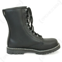 German Army Paratrooper BLACK LEATHER BOOTS - All Sizes - Military Steel Toe New